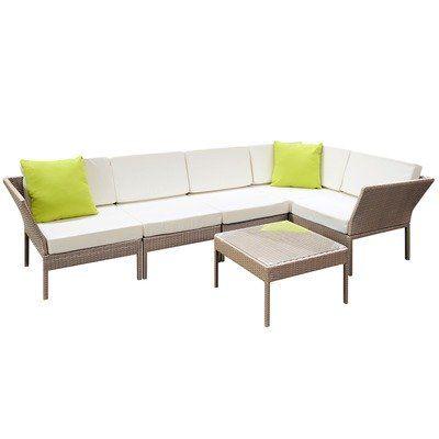 Aloha 6 Piece Stackable Pe Rattan Outdoor Lounge Set Courtyard
