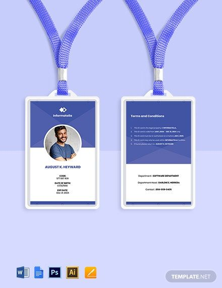 Sample It Company Id Card Template Word Psd Apple Pages Google Docs Illustrator Id Card Template Company Id Business Card Template Design