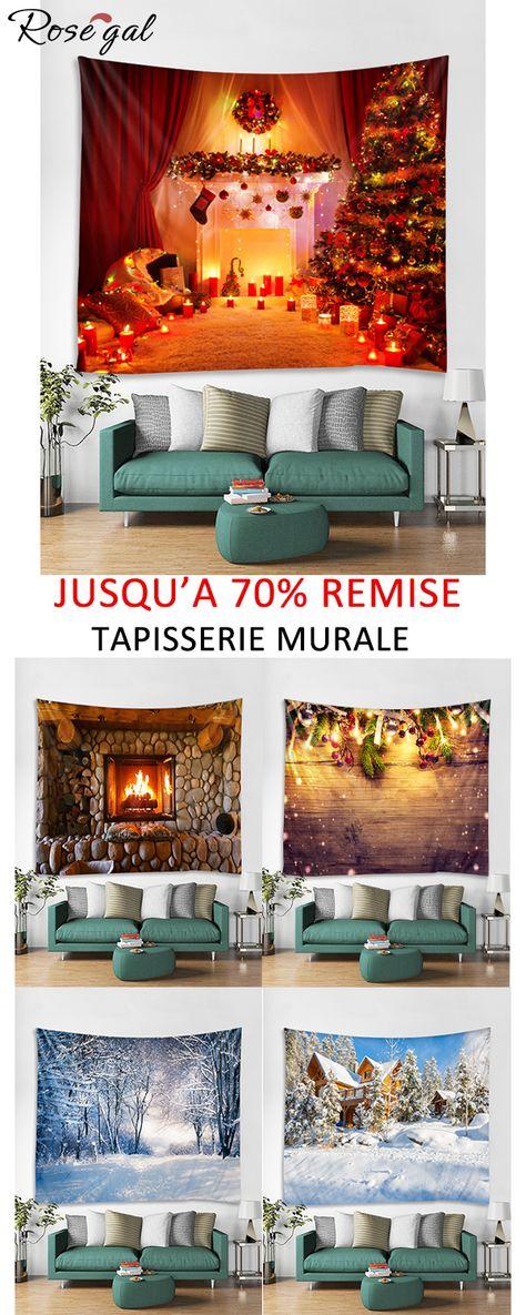 Jusqu'à 70% remise des tapisseries murales pour la décoration de la maison #Rosegal #Noël