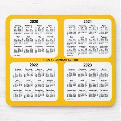 2020 2023 Gold 4 Year Calendar By Janz Mouse Pad Zazzle Com