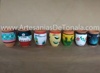 Jarritos decorados M\u00e9xicanos Cantaros de barro hechos en Tonal\u00e1 Jalisco