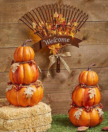 Stacked Pumpkin Stake Or Rake Door Hanger In 2020 Stacked Pumpkins Thanksgiving Decorations Diy Fall Thanksgiving Decor