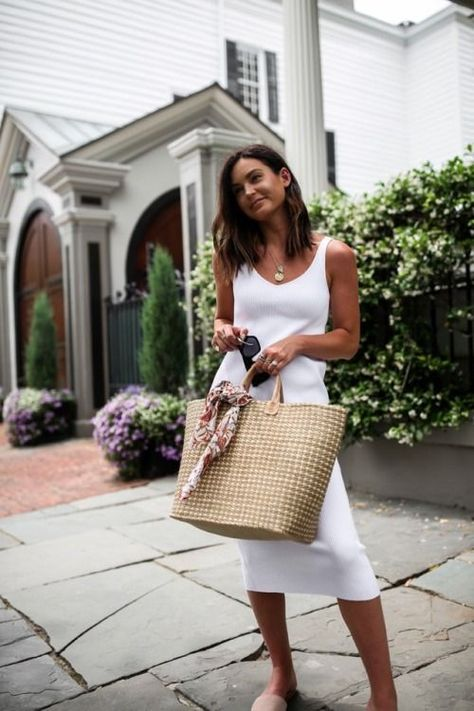 white midi dress and oversized straw bag #casual #ootd #summerstyle