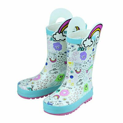 Toddler Kids Rain Boots Girls Boys Waterproof Rubber Boots With Easy On Handles Kids Rain Boots Toddler Girl Shoes Boys Rain Boots