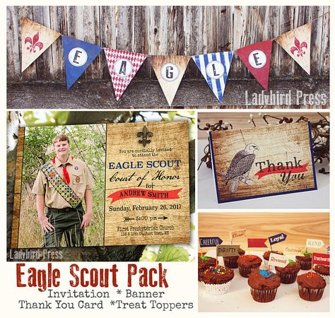 Printable Eagle Scout Pack - Court of Honor Pack - Court of Honor Invite -Boy Scout Banner -Treat Toppers -Thank You Card -Instant Download