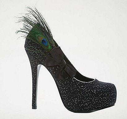 Betsey Johnson Olvia pump heel fuzzy pom feather | Feather