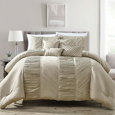 7pcs Luxury Soft Comforter Set Bed In A Bag King Cal King Size Ophelia Taupe Ebay Comforter Sets White Bed Comforters King Size Comforter Sets Bed in a bag cal king