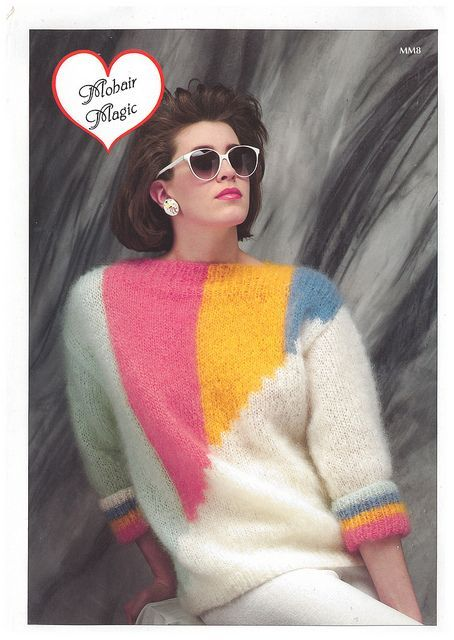 Hand Knit 1980/'s Rag Sweaterlooks great with jeans.