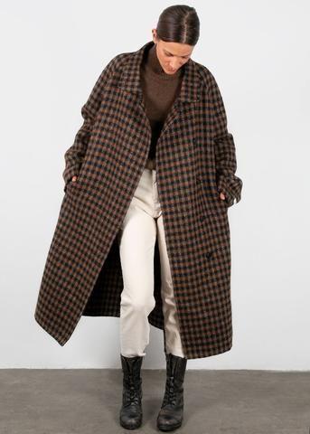Coat Wool Blend Jacket, Brown Check Winter Coat