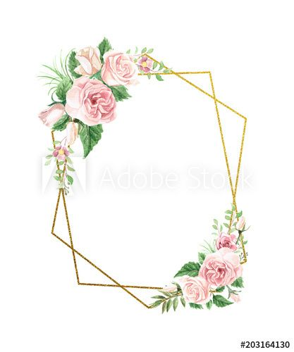 Watercolor Floral Geometric Frame Flower Frame Floral Border Design Floral Watercolor