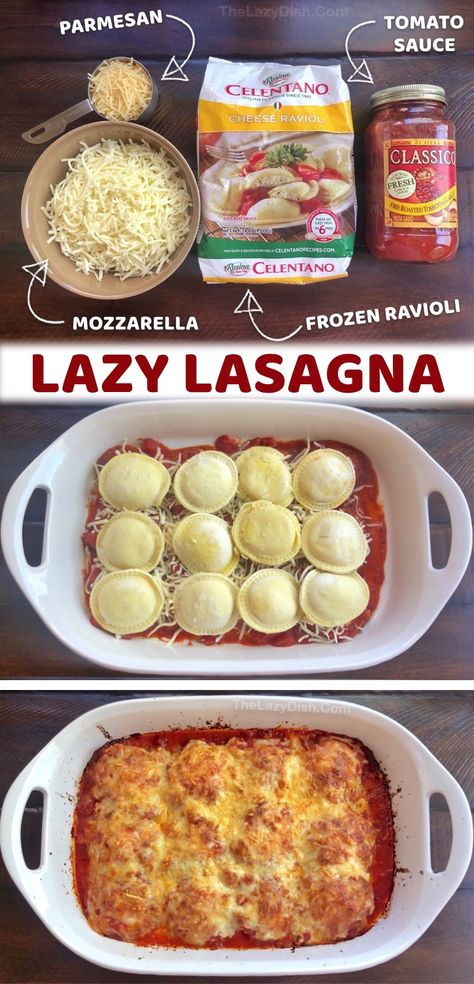 Think Food, I Love Food, Lazy Lasagna, Ravioli Lasagna, Mozzarella, Quick Meals, Easy Dinners To Make, Easy Meals To Cook, Quick Cheap Dinners