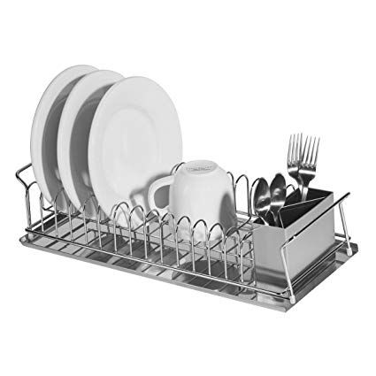 Oggi 3 Piece Dish Drain Set With Stainless Steel Utensil Caddy