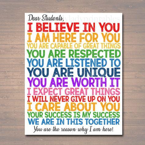 Dear Students Classroom Teacher Poster Sign, School Counselor Digital Art, School Social Worker, Principal Office Decor, INSTANT DOWNLOAD