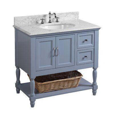 Valeria 36 Single Bathroom Vanity Set Base Finish Powder Blue Top Finish Carrara Marble In 2021 36 Inch Bathroom Vanity Single Bathroom Vanity Bathroom Vanity