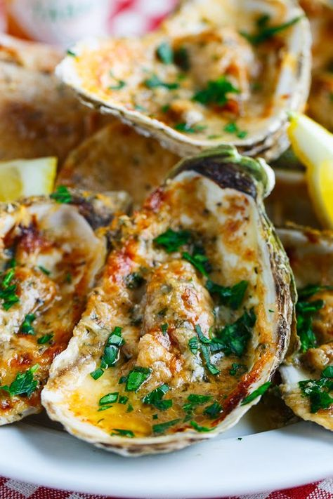 Chargrilled Oysters- Filled with a lemony, garlicky, butter sauce that are topped with cheese and chargrilled until the cheese has melted and turned golden brown. (Serve with crusty bread to soak up all of that buttery saucy goodness! Best Seafood Recipes, Fish Recipes, Great Recipes, Favorite Recipes, Donut Recipes, Recipe Ideas, Chicken Recipes, Seafood Dinner, Fish And Seafood