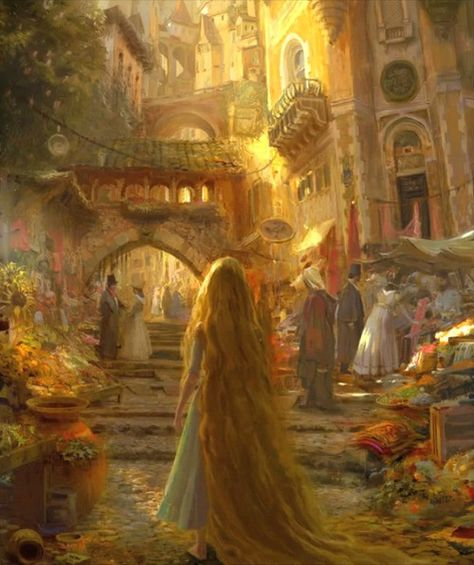 Yet another reason I bought the Art of Tangled book, this amazing piece of concept art. This is what I wanna do for a living ahh (Tangled Disney concept art ~Craig Mullins, Glen Keane, Claire Keane, and Lisa Keene) Tangled Concept Art, Disney Concept Art, Fantasy Magic, Fantasy Art, Disney Love, Disney Magic, Disney Dream, Disney And Dreamworks, Disney Pixar