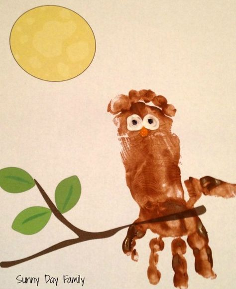 Sunny Day Family: Owl Handprint/Footprint Craft with Free Printable ...