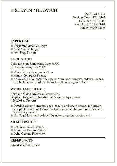 beginner student resume references