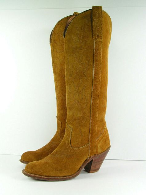 227302d9001 vintage cowboy boots leather womens 7.5 B M brown knee high miss ...