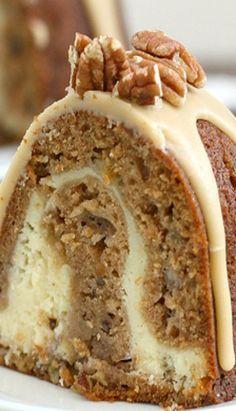 Apple-Cream Cheese Bundt Cake w Praline Frosting. Wow that looks good.