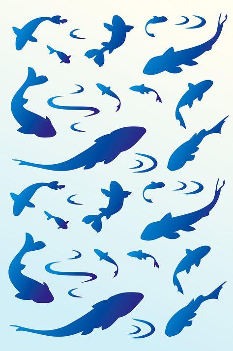 Fish Koi Circle Animal A5 A4 A3 Mylar Reusable Stencil Airbrush Art Paint