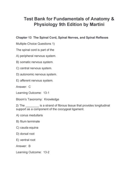 Download test bank for fundamentals of anatomy and physiology 8th ...