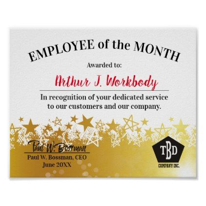 Faux Gold Stars Employee Of The Month Certificate Poster Faux Gifts Style Sample Design Cyo Award Poster Gold Stars Good Employee