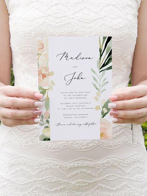 Blush Floral Wedding Invitation Template Pink Flowers Wedding #weddinginvitations