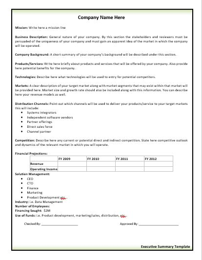 Executive-Summary-Template wordstemplates Pinterest Template - sworn statement example