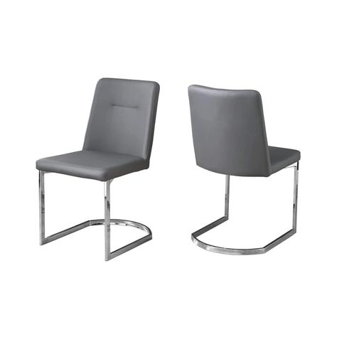 Dining Chair 2pcs 34 H Grey Leather Look Chrome Dining