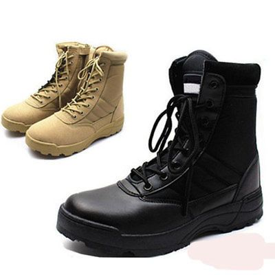 Men Outdoor  Army Tactical Boots Military Combat Desert Shoes Leather SWAT Climb