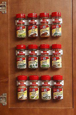 20 Clip Kitchen Spice Gripper Strip Jar Rack Storage Holder Wall Cabinet Door