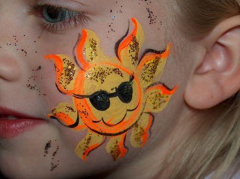 DIY Sun Face Paint #DIY #FacePainting #Suns #CheekArt #Birthdays #Birthday #Party #Parties