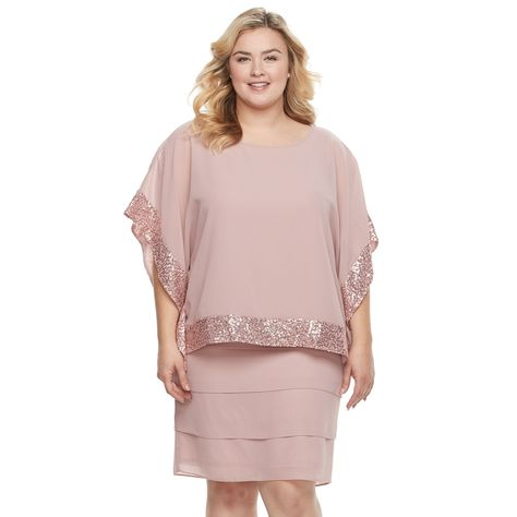5d9732214182 Plus Size Women's Le Bos Embellished Capelet Tiered Dress, Size: 14 W,  Light Pink