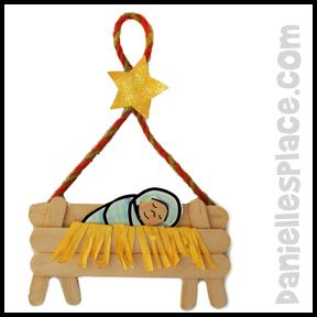 """Baby Jesus in a Craft Stick Manger See: http://www.daniellesplace.com/html/bible_themes_-_christmas.html for the complete instructions. What you will need: Woodsies Mini Jumbo Craft Sticks - 4.5"""" Mini Craft Sticks - 2.5"""" Yellow C..."""