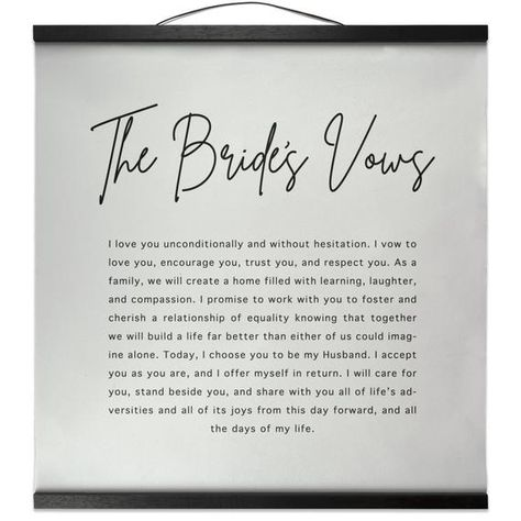 """These canvas wall hangings are one of a kind! Have your vows printed from your wedding day for a special decor piece. High quality canvas poster comes ready to hang with the faux suede hanger. This will be a special decor piece you and your significant other will love forever. These make great wedding gifts, anniversary gifts, Christmas gifts and birthday gifts!::SIZE::These measure 16""""x16"""" with a black magnetic frame. If you would like a different size please message me and ask before ordering"""