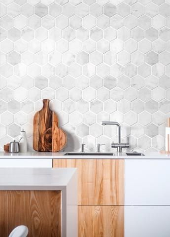 Cle Tile Carrara Marble White Stone Hexagon In 2020 Hexagon Tile Kitchen Marble Tile Bathroom Kitchen Tiles Backsplash