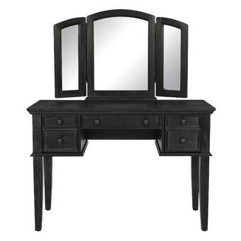 Cormier Corner Makeup Vanity With Mirror Osp Home Furnishings Rustic Black Black Vanity