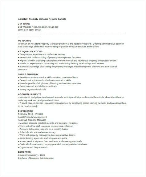 Assistant Property Manager Resume , Assistant Property Manager - property manager resume sample