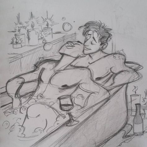 Bathtime is always better with someone else and something to drink :D workin out one of the next illustrations #solizart #sketching #wip #drawing #bathtime #love #lgbt #boyfriends #husbands #romantic #relationshipgoals by solizart