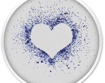 Rainbow Heart Cross Stitch Pattern Free Shipping Cross Stitch