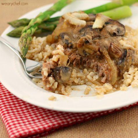 Fork Tender Cube Steaks in Mushroom Gravy #beef #dinner