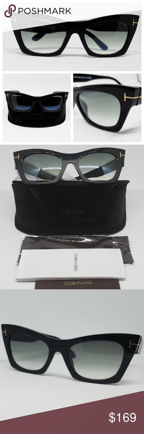 1f6bcd78a3b Tom Ford Cat Eye Sunglasses Black Gradient Beautiful Cat Eye in Black Frame  Brand New