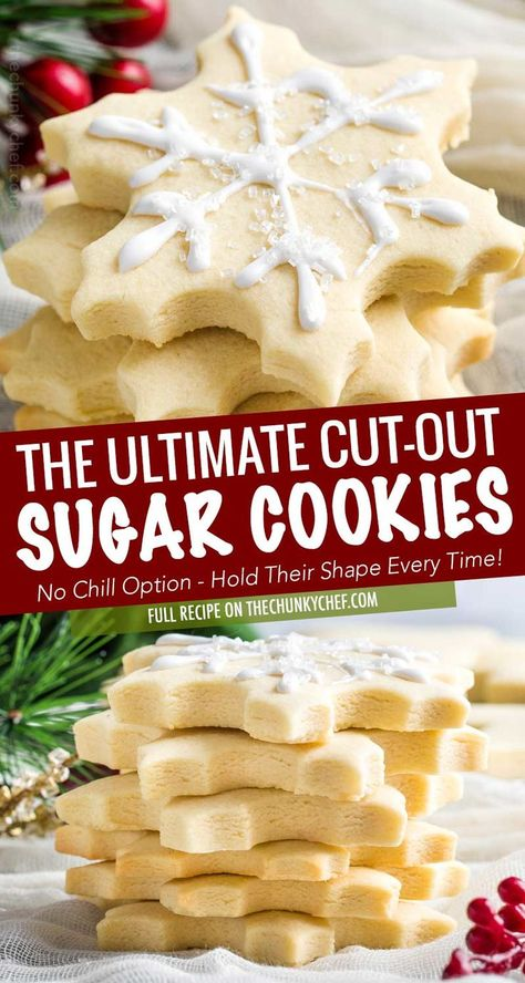 These cut out sugar cookies are delicious, have slightly crispy edges and soft centers, keep their shape, and they have perfect edges every single time! The only sugar cookie recipe you'll need! # holiday Baking Cut-Out Sugar Cookies Chewy Sugar Cookies, Sugar Cookies Recipe, Christmas Sugar Cookies, Cookies Et Biscuits, Yummy Cookies, Christmas Cut Out Cookie Recipe, Christmas Cookies Cutouts, Best Cutout Cookie Recipe, Decorated Cookies