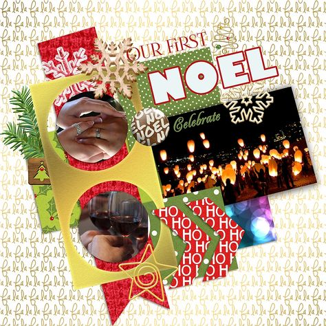 """First Noel features gold styles from Elif Sahin at Pixelscrapper.com and her kit, """"A little Sparkle."""" Template is from Little Green Frog Designs."""