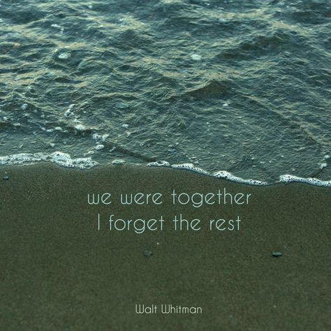 we were together, I forget the rest. Walt Whitman.