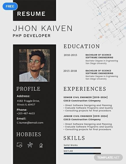 A Resume Template For Web Developers Who Specializes In Php And Are Looking For Employment T Resume Template Word Resume Template Downloadable Resume Template