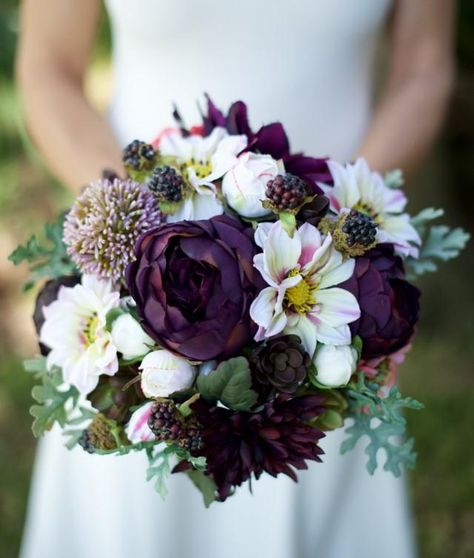 """This is a beautiful -almost fresh- Top Quality Silk Plum Purple, Lilac, Violet, Cream and Blush Succulents and Mix Flowers Wedding Bouquet, made with the most realistic silk flowers available. This is a perfect bouquet for a Fall harvest, Rustic or Garden Wedding.The bouquet measures 11"""" Wide and will be custom made just for you! We can customize any details. You can also order a 9"""" or 10"""" bouquet.For the Ribbon choices, the sky is the limit! Send us a picture of your colors..."""