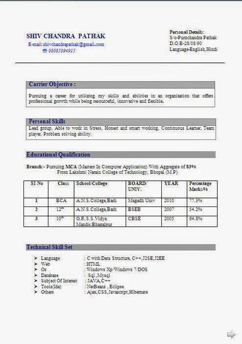 canadian resume templates Sample Template Example ofBeautiful - resume format for mca student