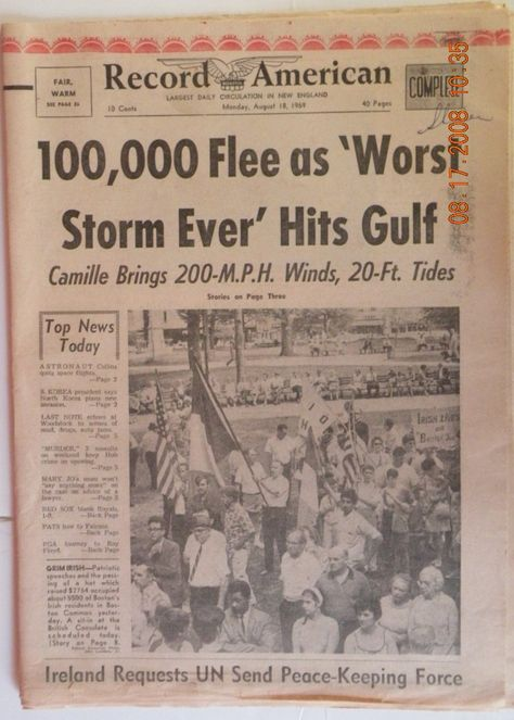 Image detail for -... 130mph winds sept 12th,ship island cut in half. Newspaper headline we were on vacation in New Orleans and left the day before it hit, I was about 10 years old
